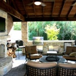 outdoor kitchen exterior fireplace